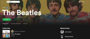 screenshot of The Beatle's Spotify Artist page