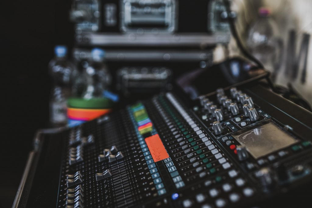 Audio mixer in recording studio