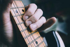 guitarist rehearsing lead guitar material