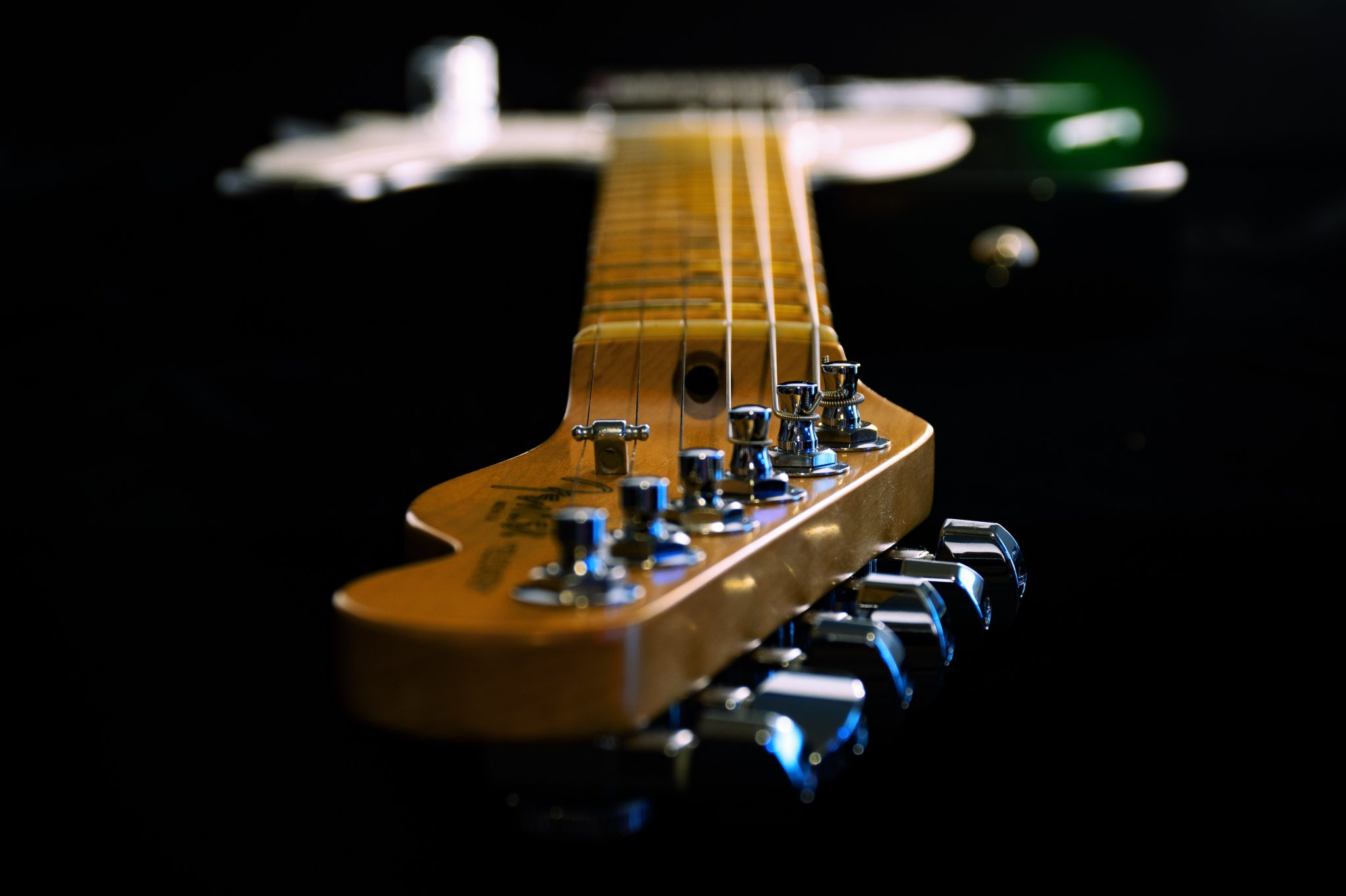 close-up of Fender teleacaster headstock
