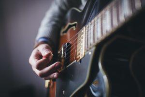 Close-up of semi-acoustic guitar