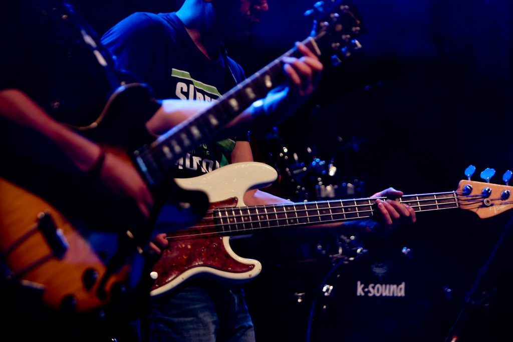 bassist and guitarist performing on stage