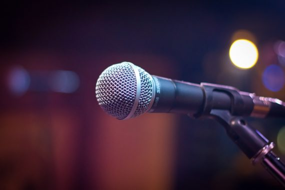 microphone set up on stage