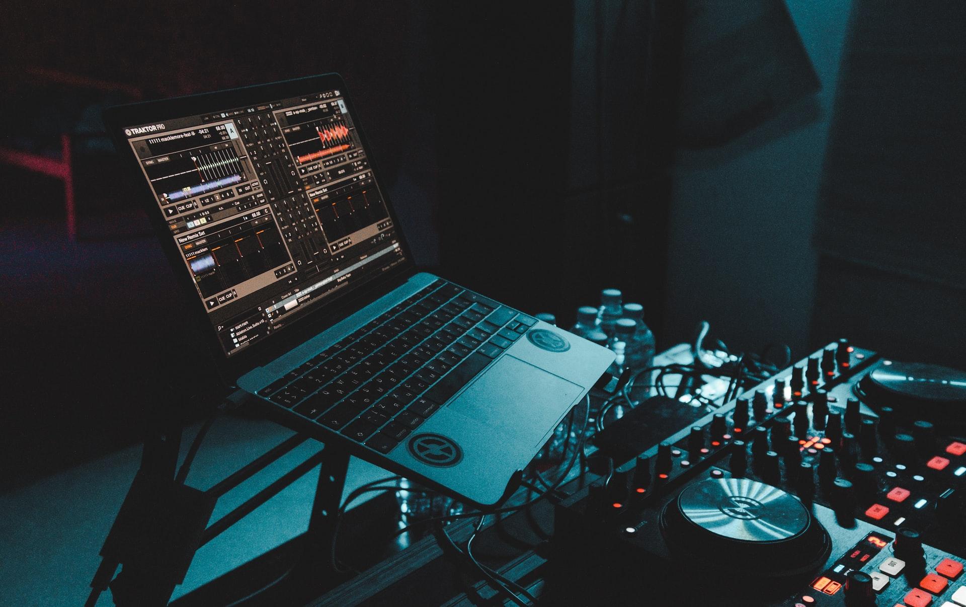 laptop and DJ equipment