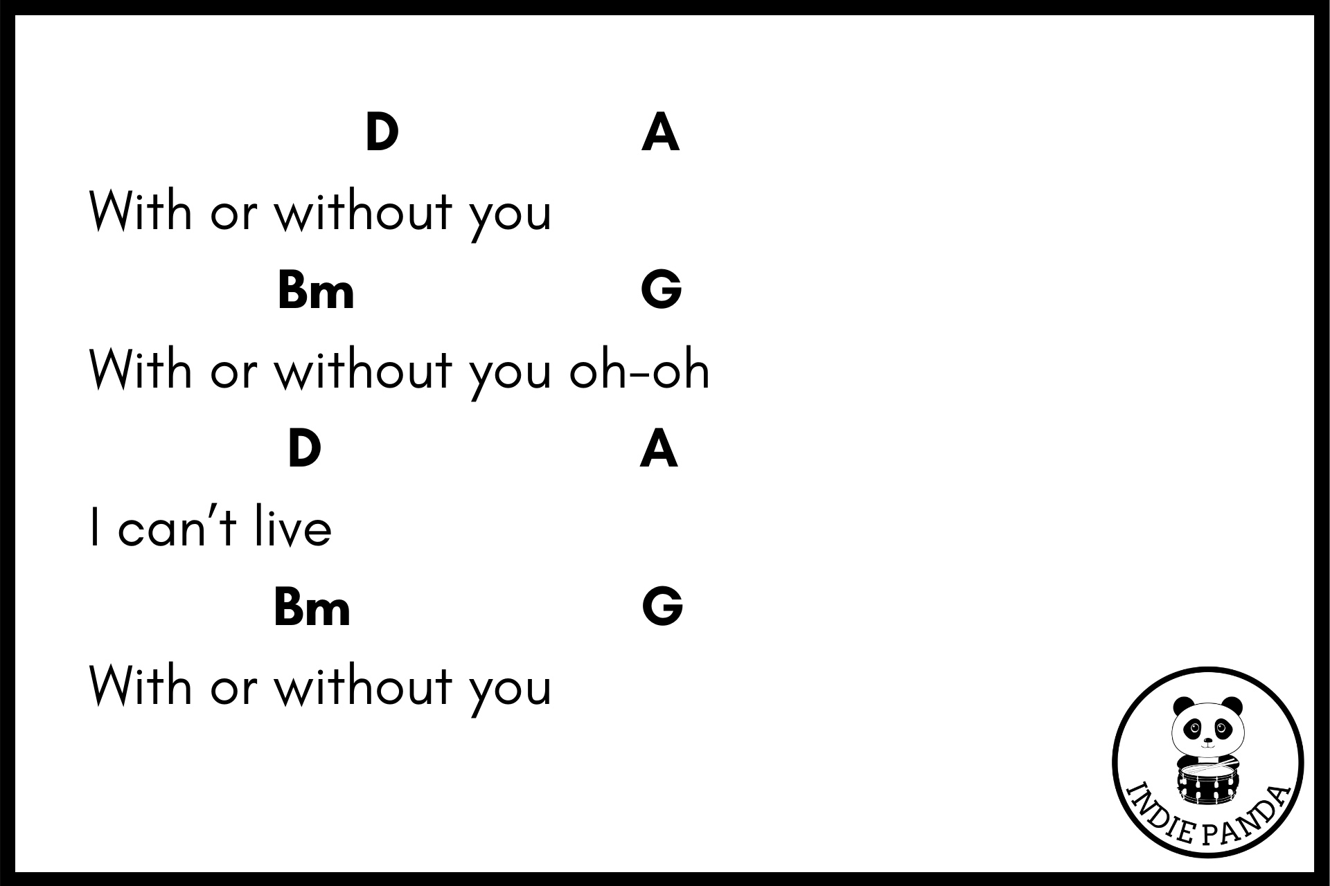 with or without you chord chart