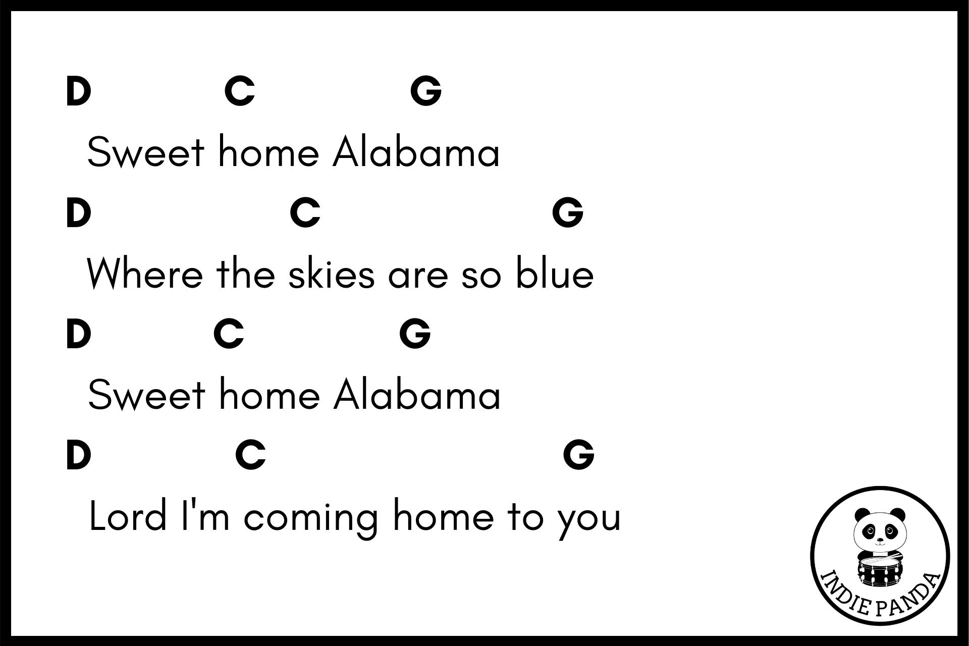 sweet home alabama chord chart